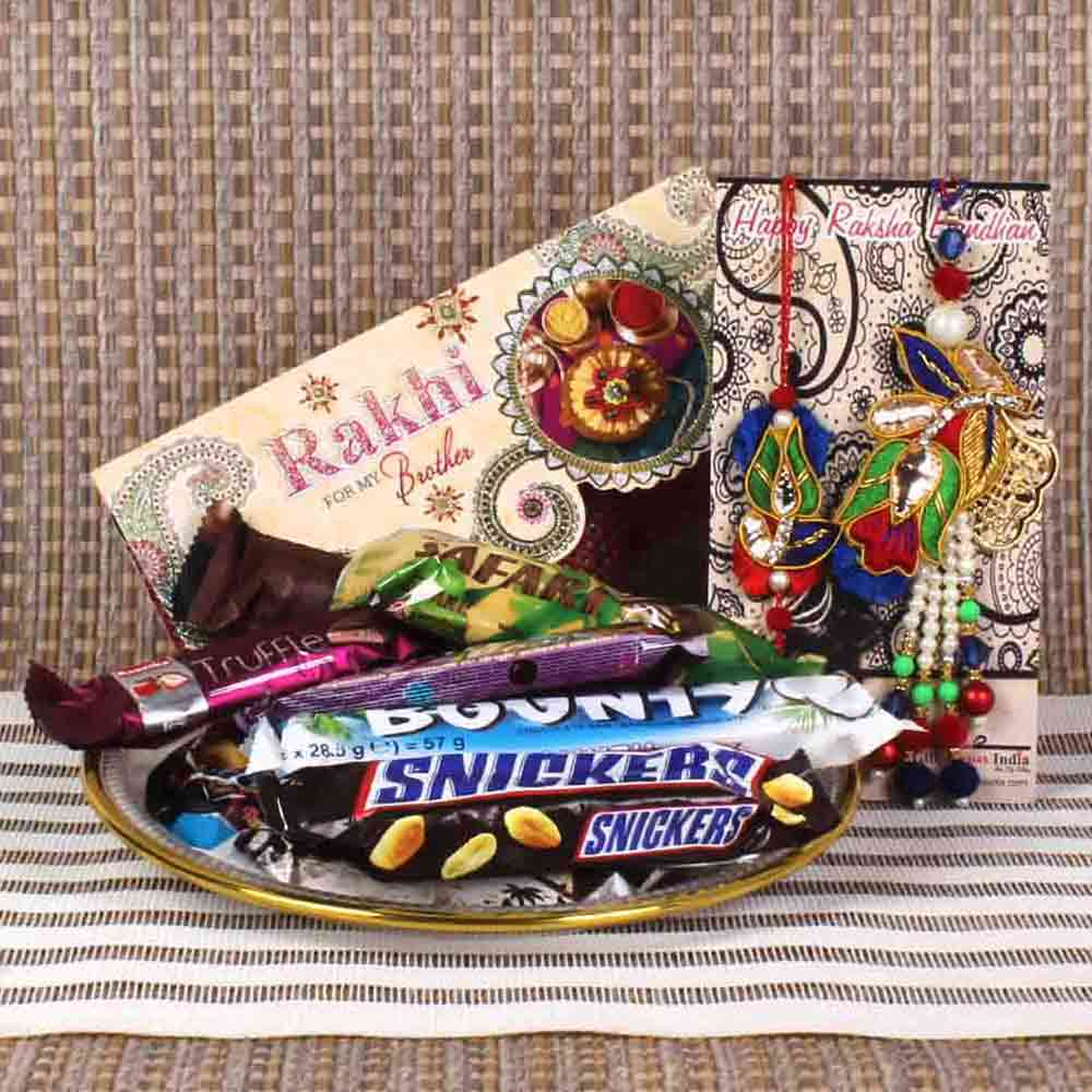 Chocolates Tray with Zardosi Bhaiya Bhabhi Rakhi