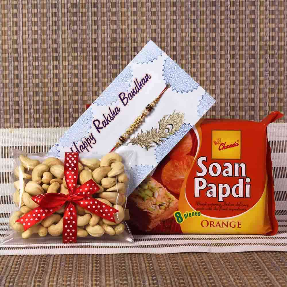 Rakhi Gift of Soan Papdi with Cashew