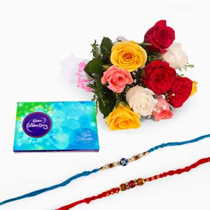 Chocolates & Flowers-Bouquet of Ten Mix Roses with Celebration Pack and Two Rakhi