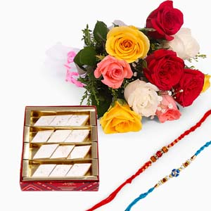 Mithai & Flowers-Mix Roses Bouquet with Sweets and Two Rakhis