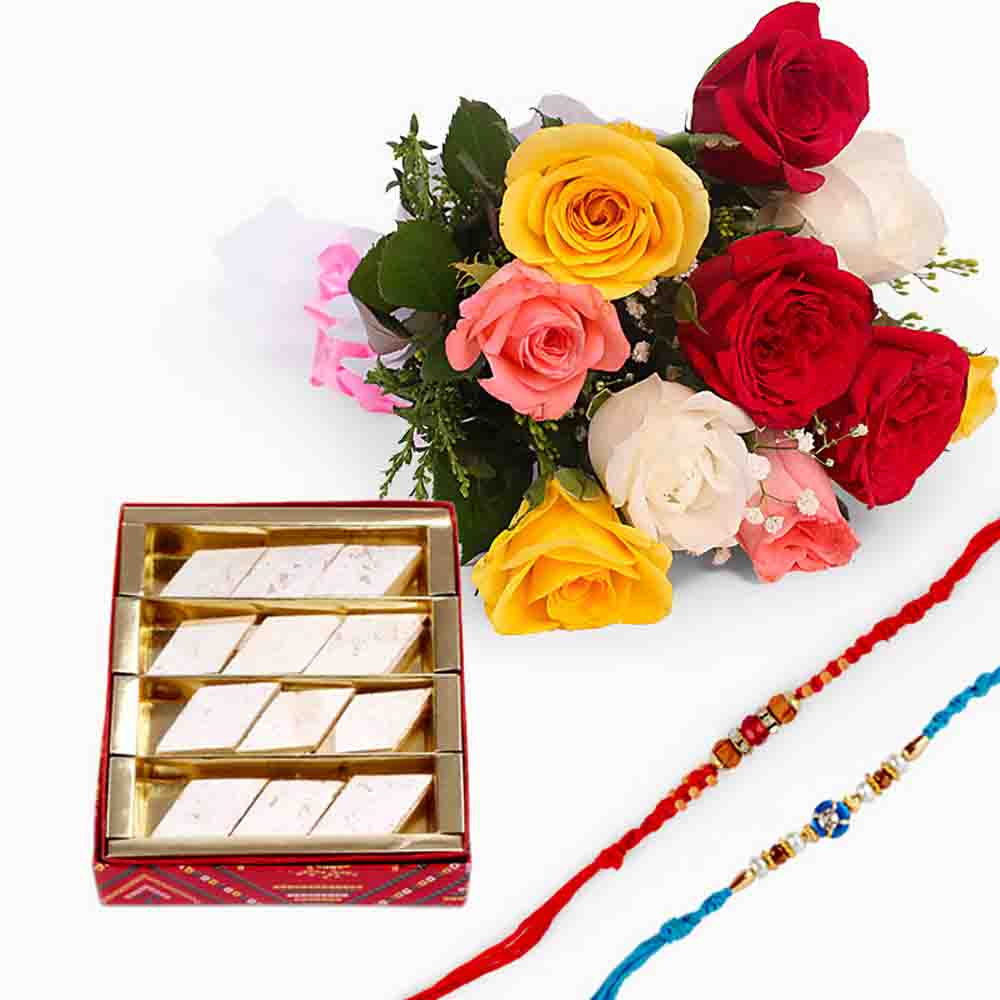 Mix Roses Bouquet with Sweets and Two Rakhis