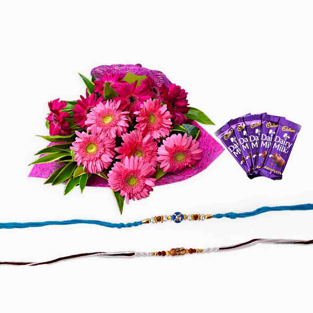 Chocolates & Flowers-Set of Two Rakhi with Gerberas and Chocolate