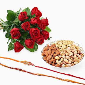 Dryfruits & Flowers-Set of Two Rakhi with Red Roses and Mix Dryfruits