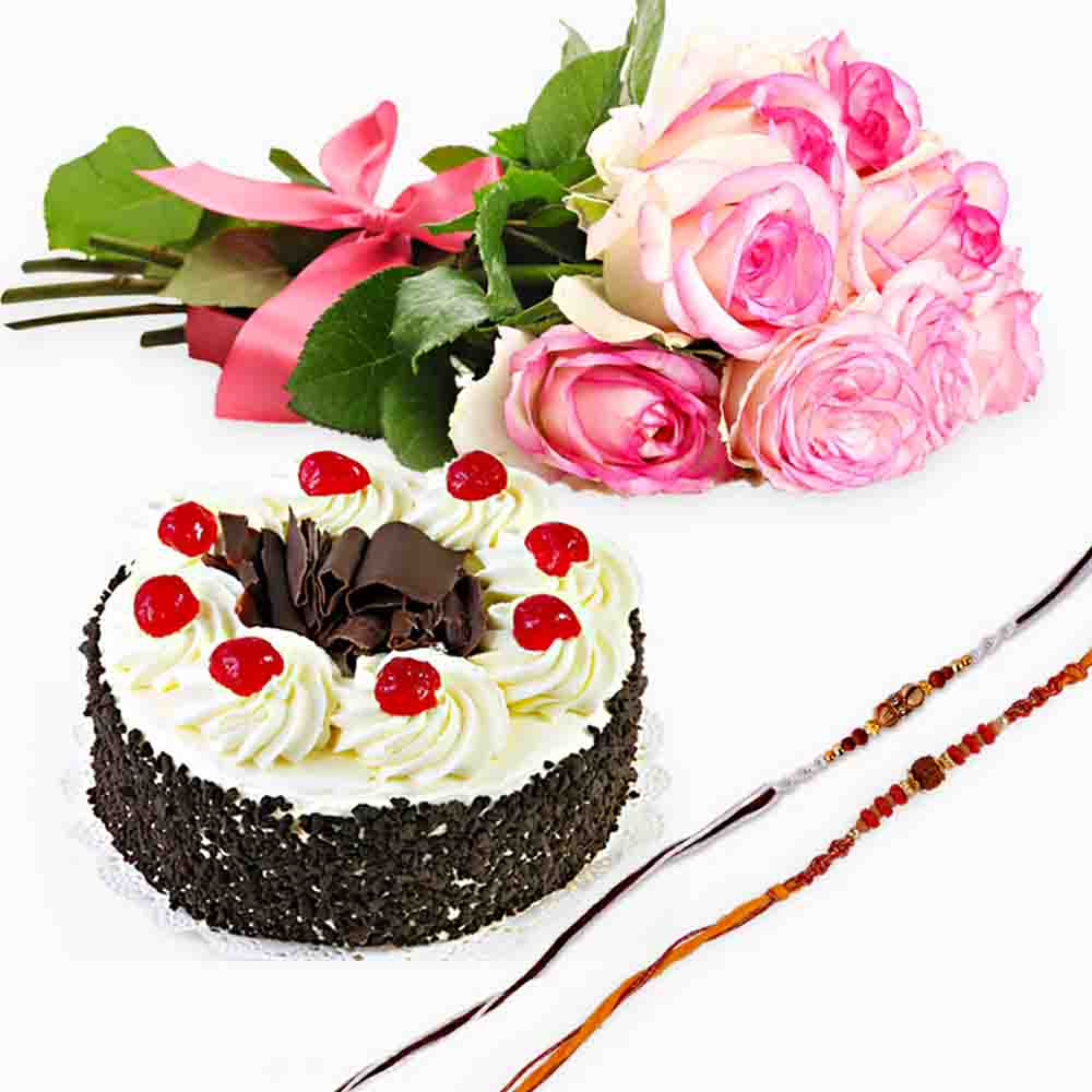 Cakes & Flowers-Set of Two Rakhi with Black Forest Cake and Pink Roses