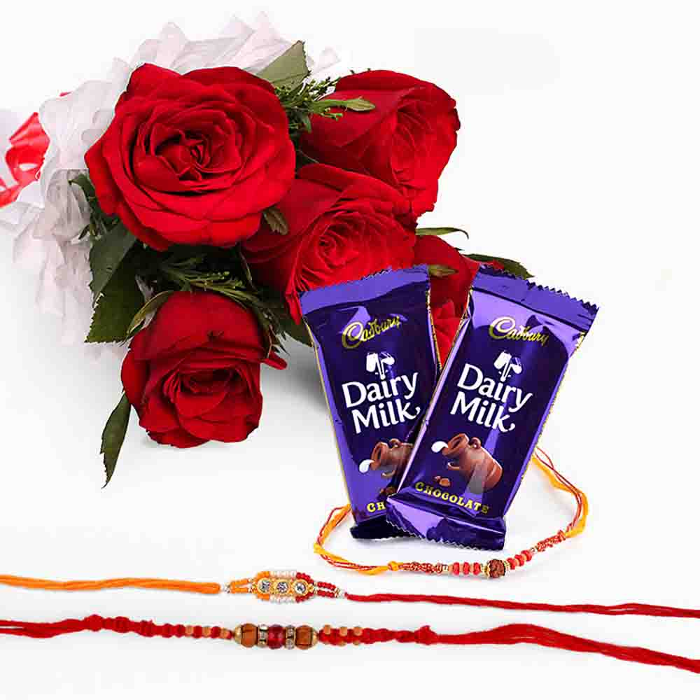 Rakhi with Six Red Roses and Chocolates