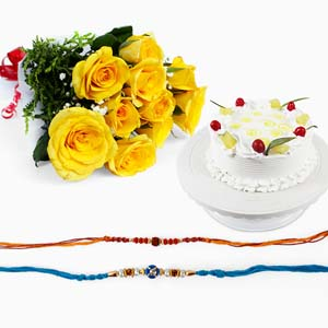 Cakes & Flowers-Rakhi with Roses and Cake