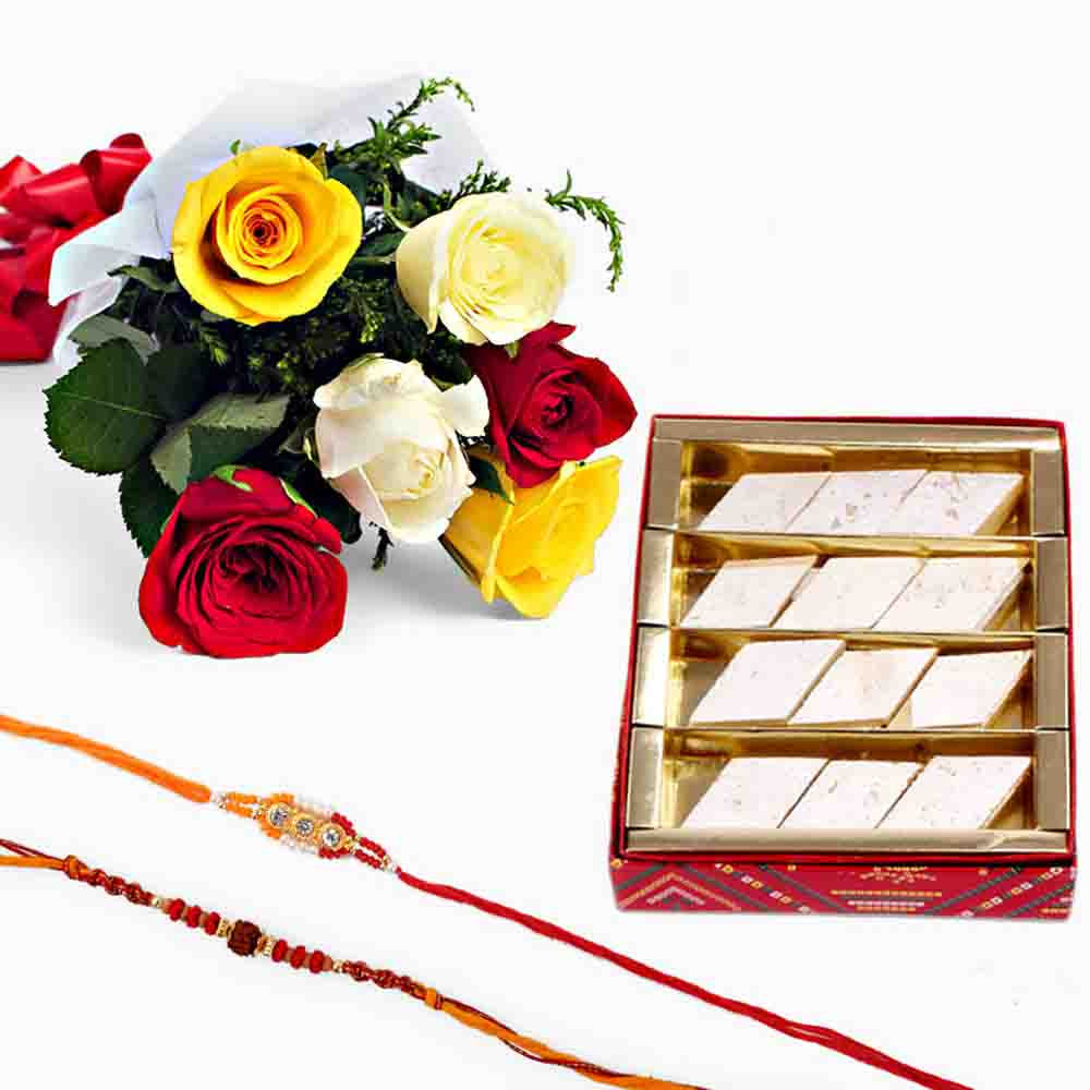 Rakhi with Kaju Katli and Mix Roses
