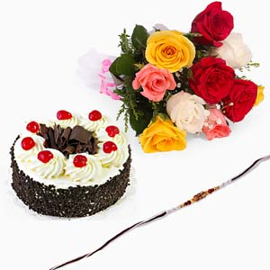 Chocolates & Flowers-Black Forest Cake with Rakhi and Roses