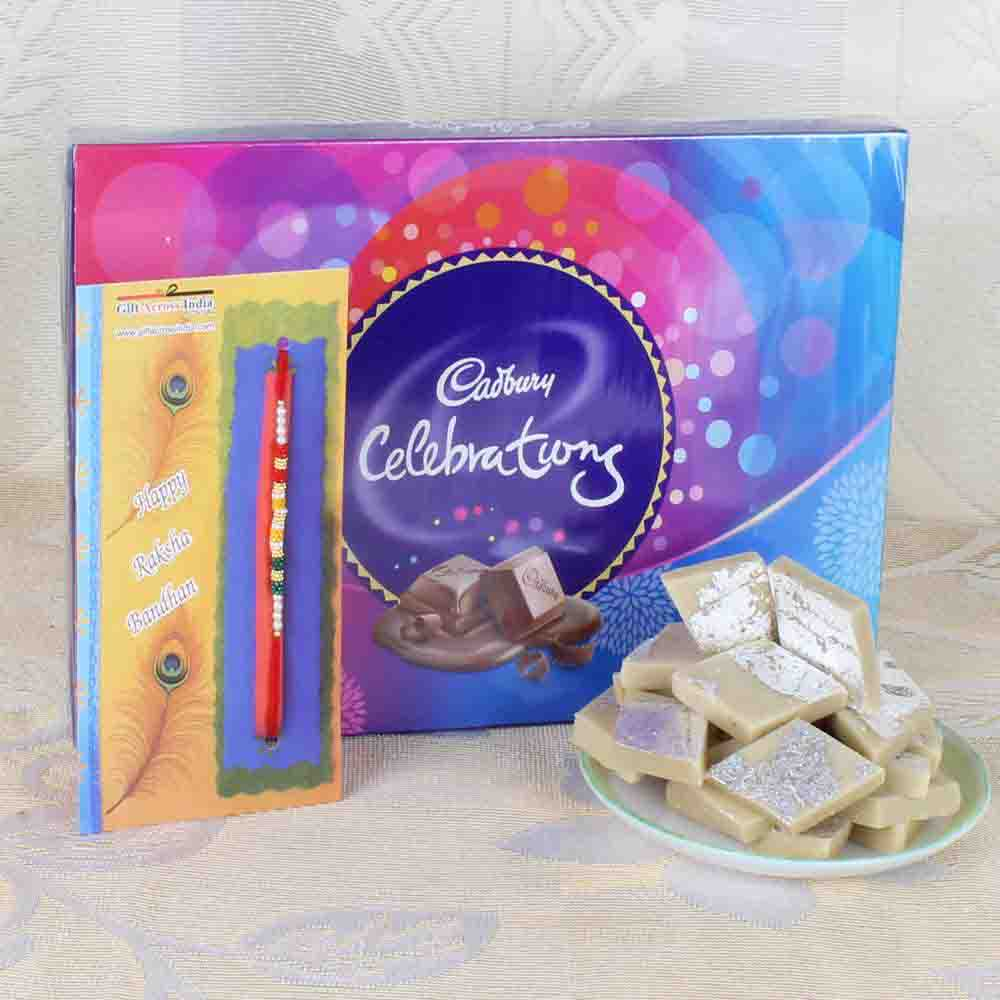 Rakhi with Sweets and Cadbury Celebrations Chocolate Pack