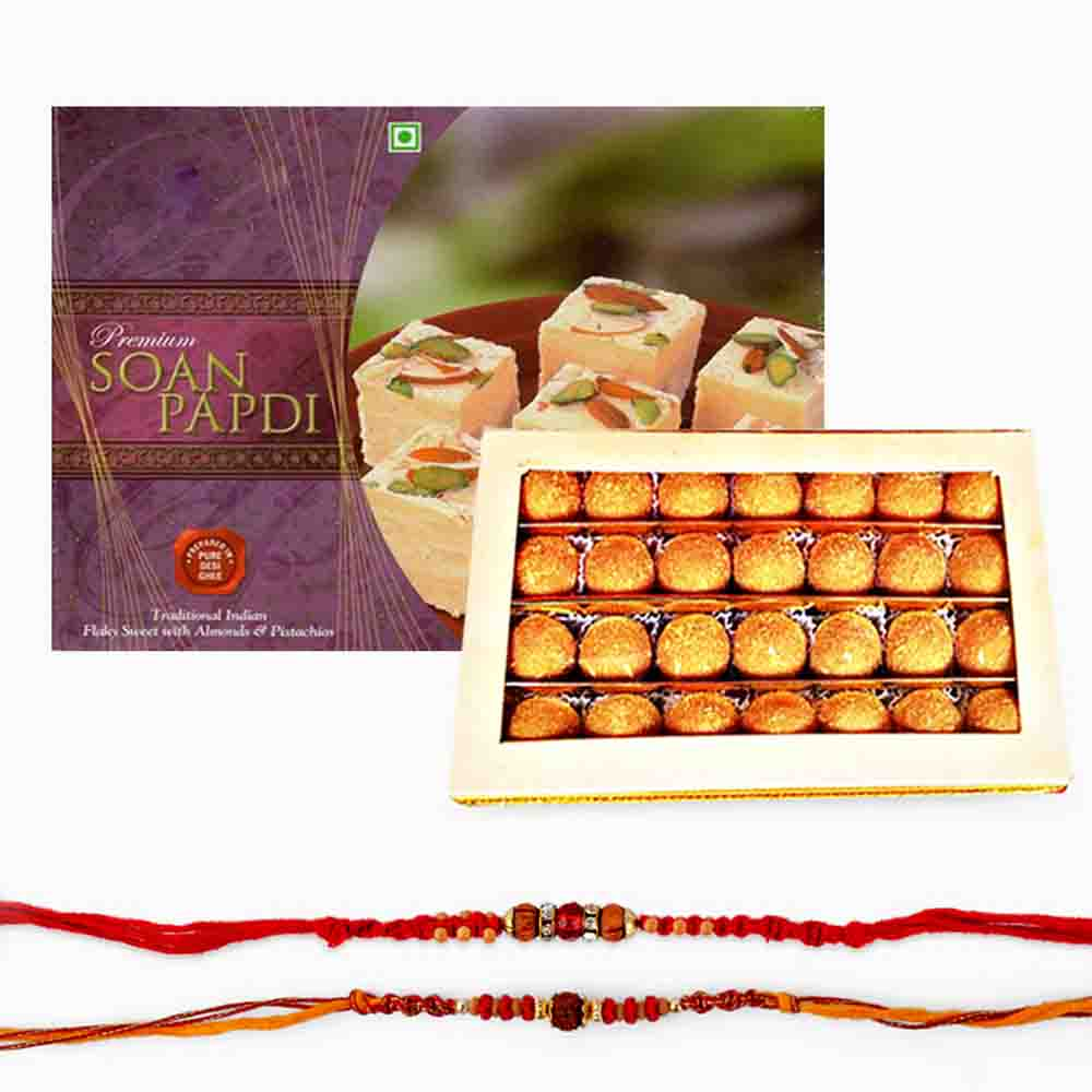 Set of Two Rakhi with Sweets