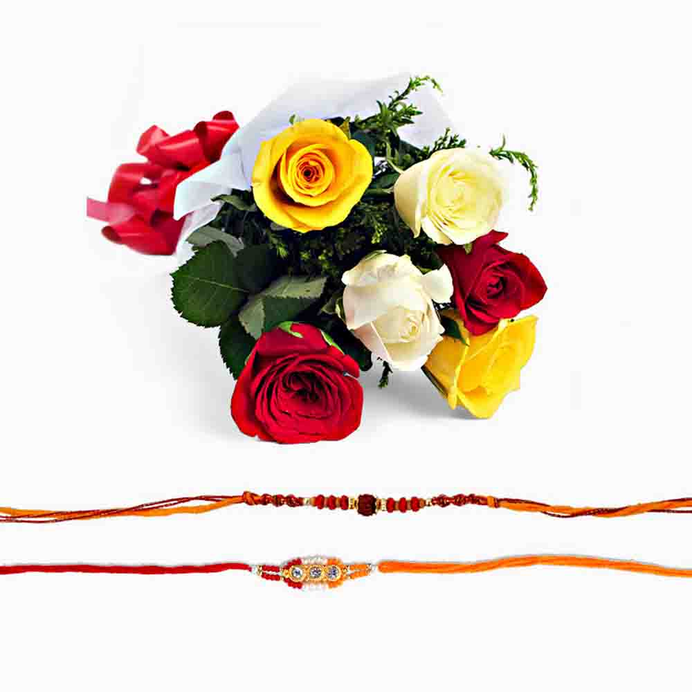 Two Rakhi with Mix Roses