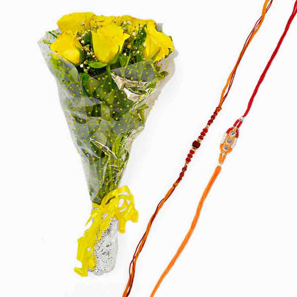 Rakhi with Fresh Yellow Bouquet