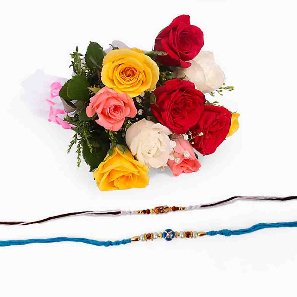 Mix Roses with Set of Two Rakhi