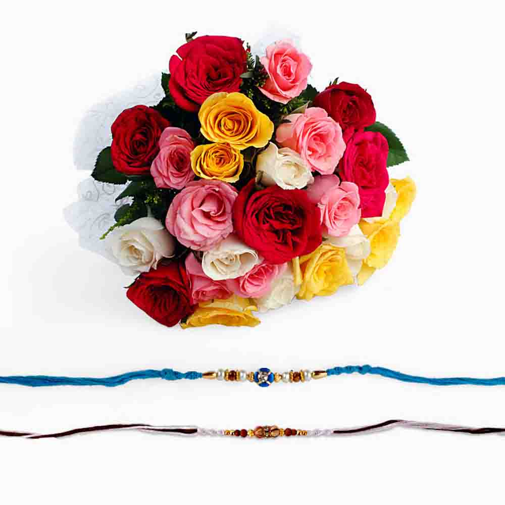 Set of Two Rakhi with Mix Roses