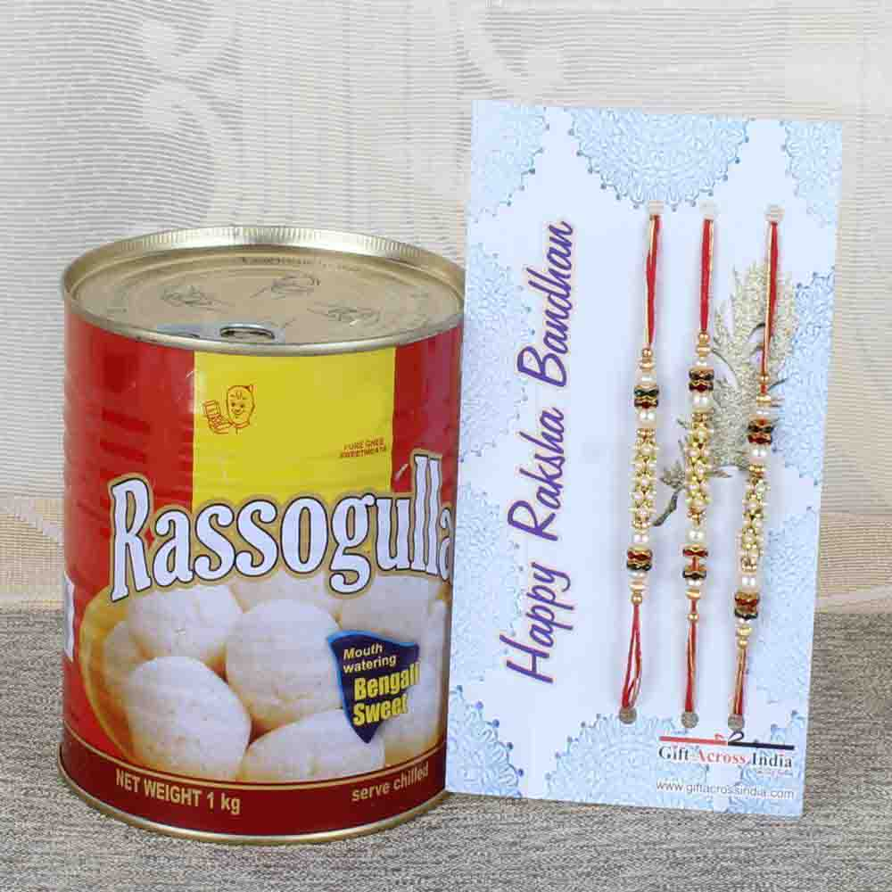 Rasgulla Sweets and Three Rakhi