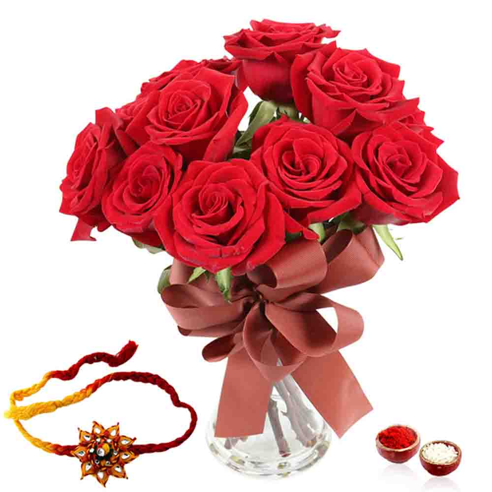 Red Roses with Rakhi