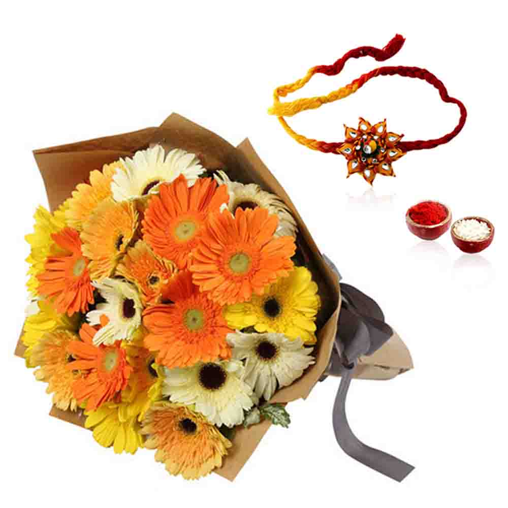 Mix Gerberas and Thread Rakhi