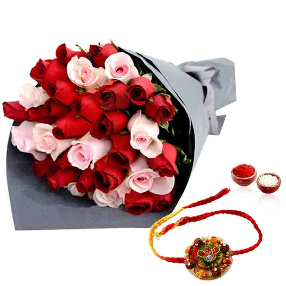 Red and Pink Roses with Desginer Rakhi