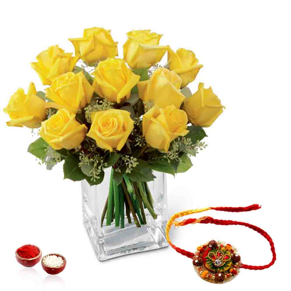Yellow Roses Arrangement with Rakhi