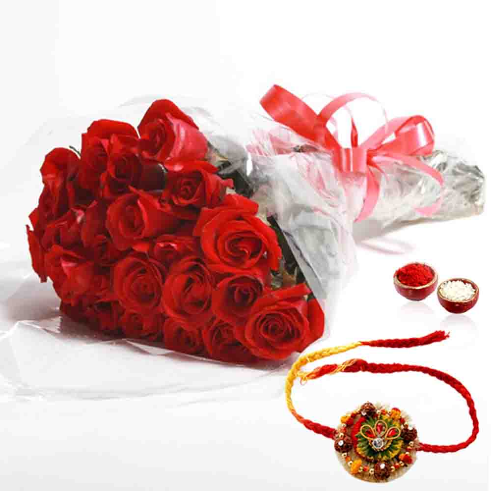 Red Roses Bouquet with Designer Rakhi