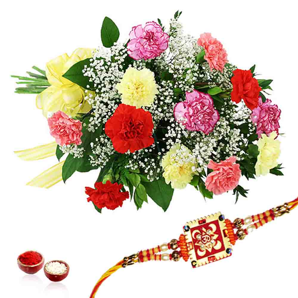 Carnation Bouquet with Rakhi