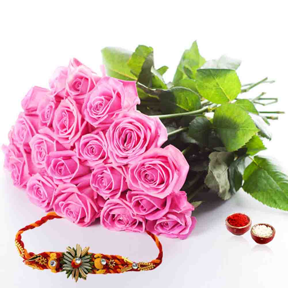 Twenty Pink Roses with Thread Rakhi