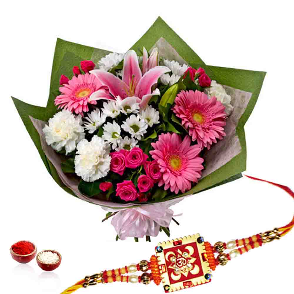 Floral Bouquet with Rakhi