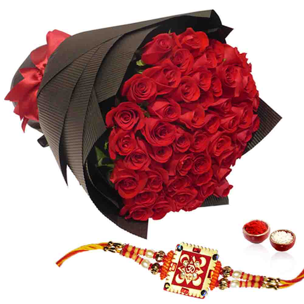 Red Roses Bouquet with Rakhi
