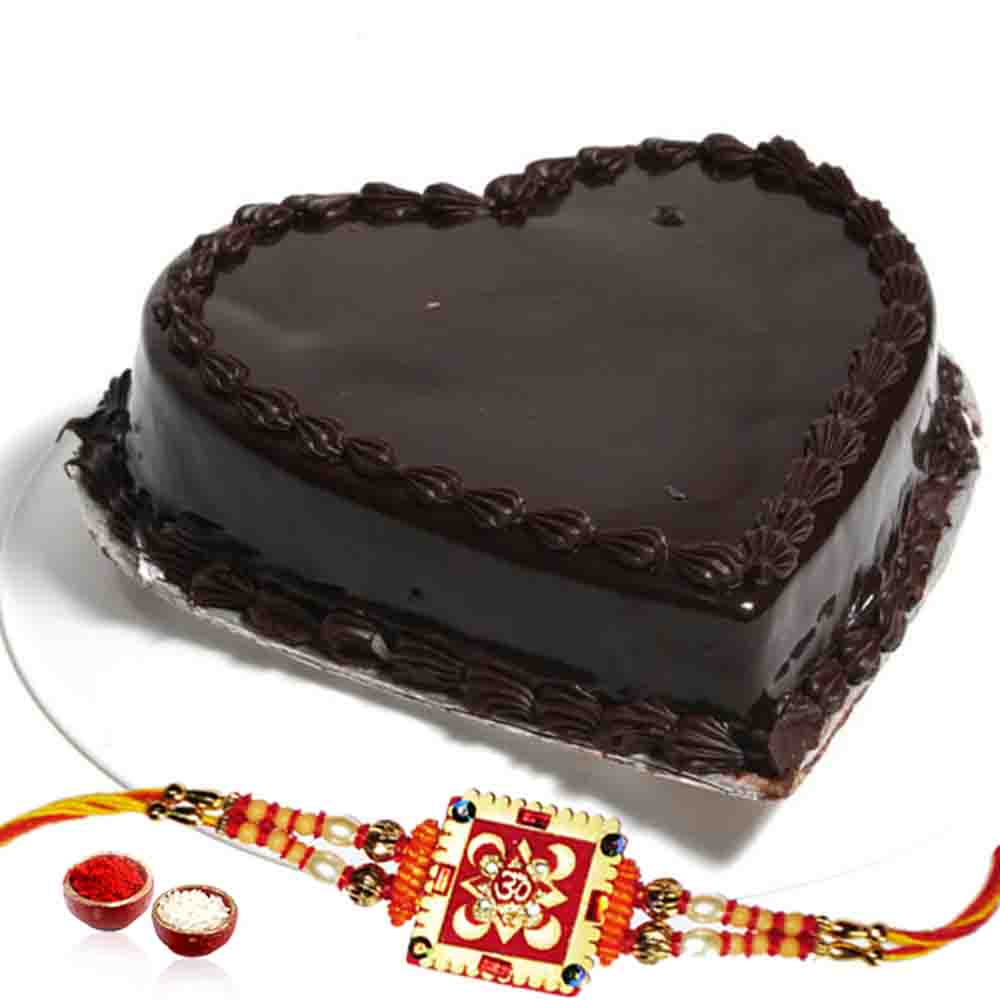 Heart shape Chocolate Cake and Rakhi