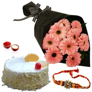 Chocolates & Flowers-Rakhi with Pink Gerberas Bouquet and Pineapple Cake