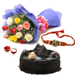 Cakes & Flowers-Mix Roses with Chocolate Cake and Rakhi