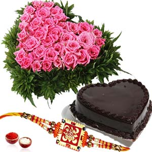 Cakes & Flowers-Heart shape Cake and Roses with Rakhi for Brother