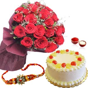 Cakes & Flowers-Pineapple Cake with Red Roses and Rakhi