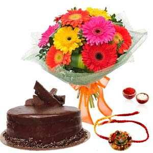Chocolates & Flowers-Delicious Chocolate Cake with Rakhi and Gerberas Bouquet