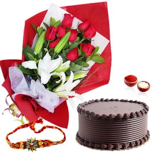 Cakes & Flowers-Exotic Flowers with Chocolate Cake and Rakhi