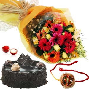 Cakes & Flowers-Roses and Gerberas Bouquet with Chocolate Cake and Rakhi