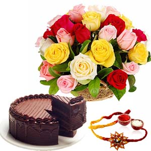 Cakes & Flowers-Mix Roses with Rakhi and Chocolate Cake