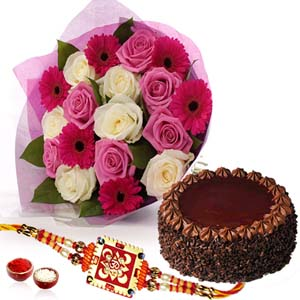 Cakes & Flowers-Flower Bouquet with Choco-chips Chocolate Cake and Rakhi