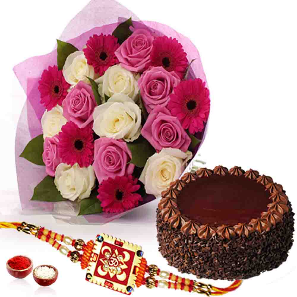 Flower Bouquet with Choco-chips Chocolate Cake and Rakhi