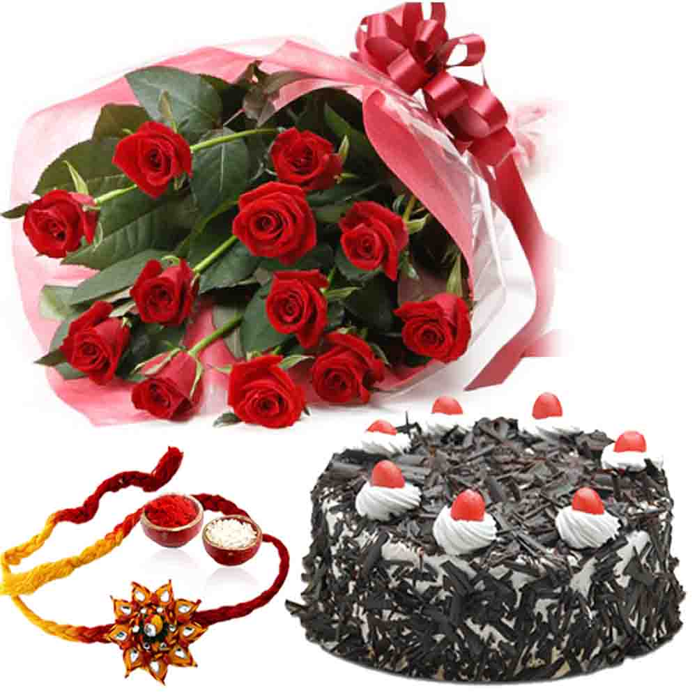 Rakhi Gift of Cake and Roses