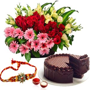 Cakes & Flowers-Basket of Flowers and Cake with Rakhi