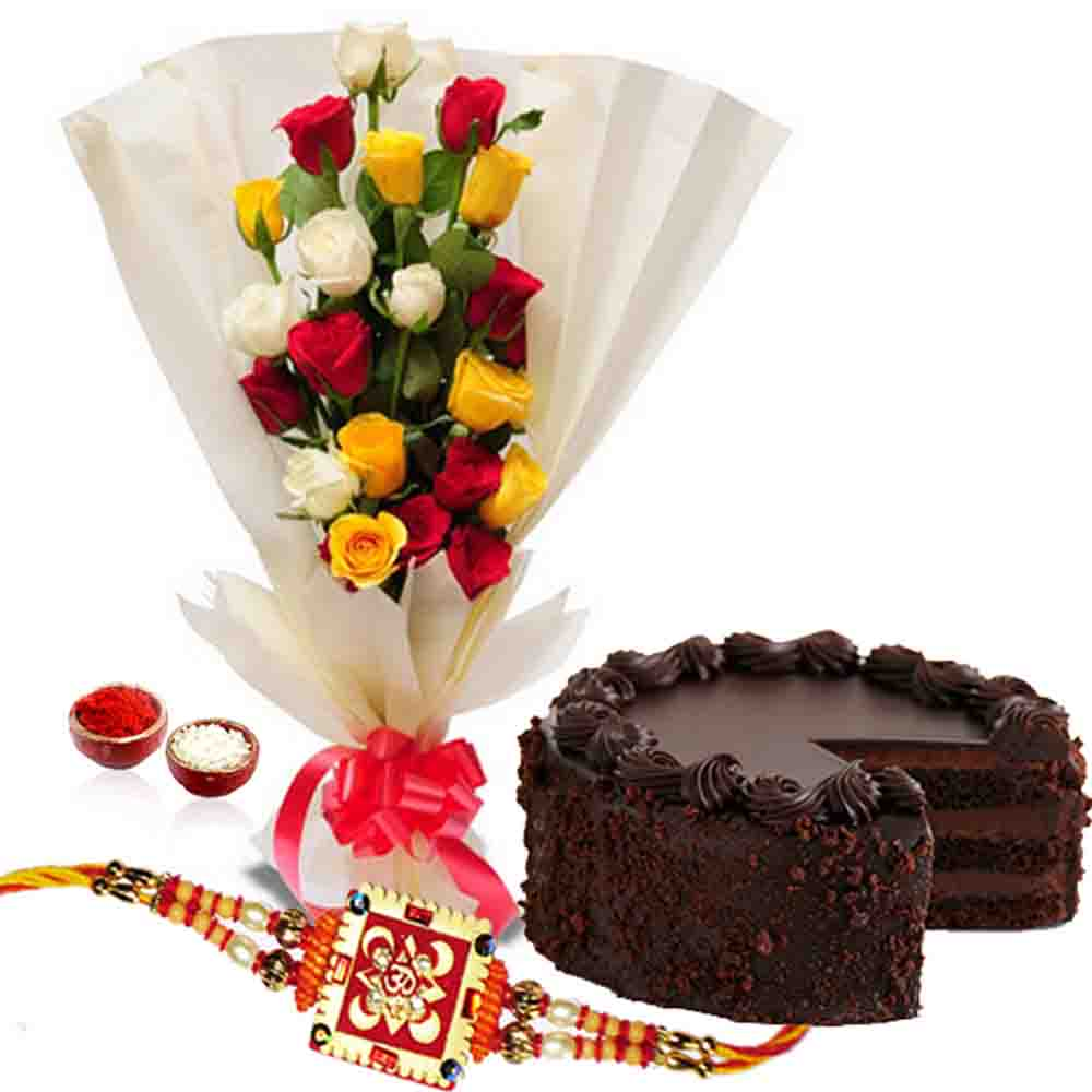 Rakhi Gift of Dark Chocolate Cake with Roses