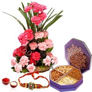 Dryfruits & Flowers-Rakhi Gift of Dry fruits and Carnations