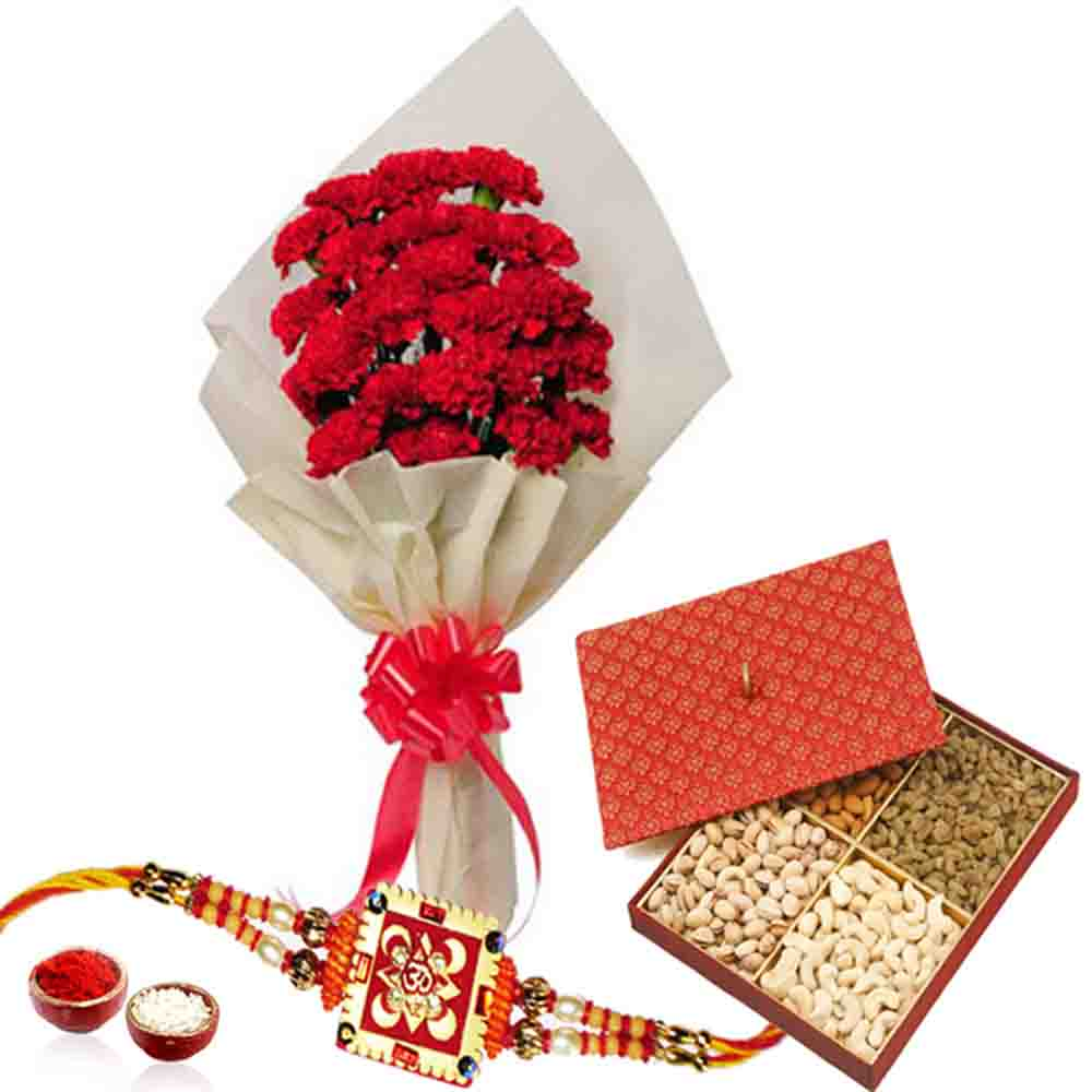 Carnations and Dry fruits with Rakhi