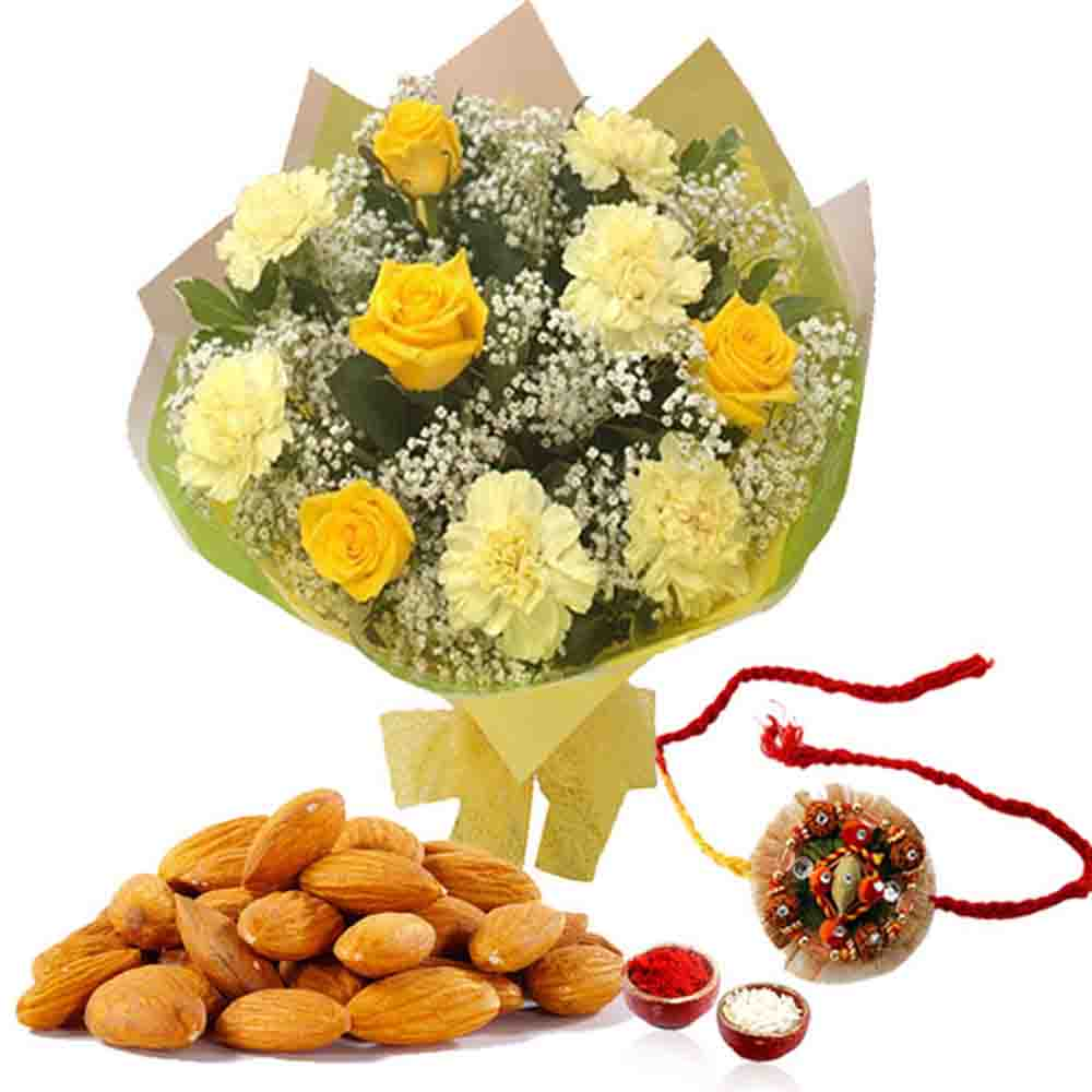 Dryfruits & Flowers-Floral Rakhi with Almond Treat