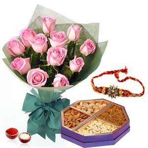 Dryfruits & Flowers-Rakhi and 1 Kg Dry Fruits with Roses Bunch