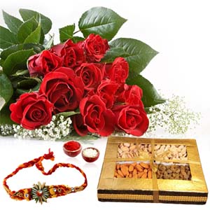 Dryfruits & Flowers-Red Roses with Rakhi and Dry Fruit Box