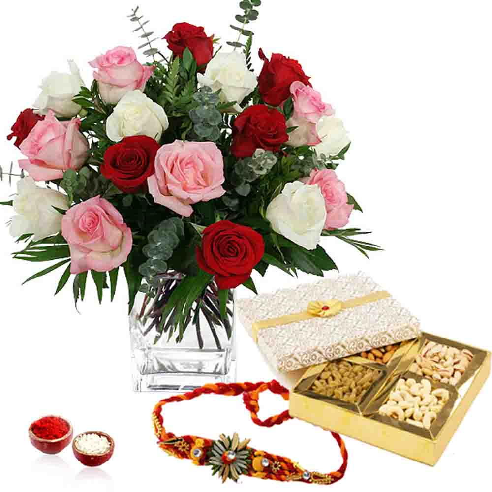 Dryfruits & Flowers-Dry fruits and Roses and Rakhi Thread