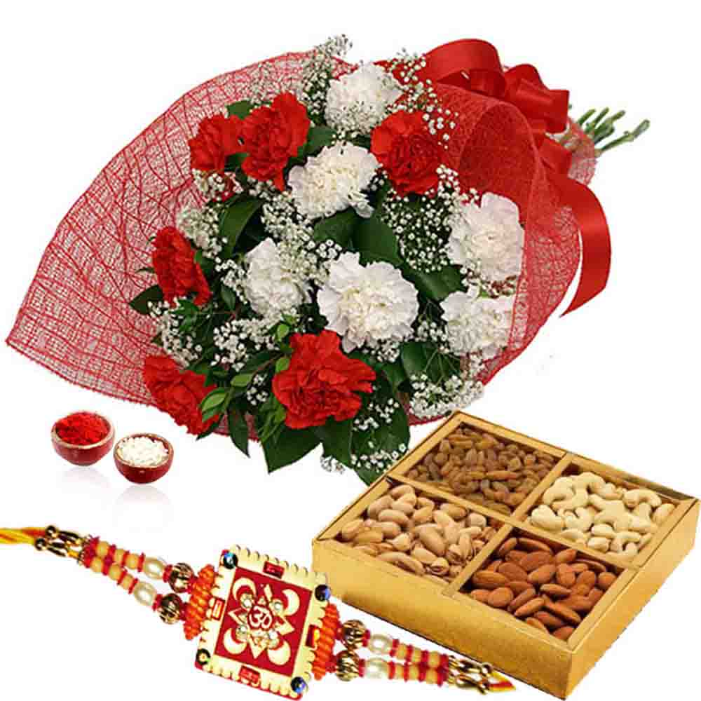 Rakhi and Dry Fruits with Bouquet of Carnations