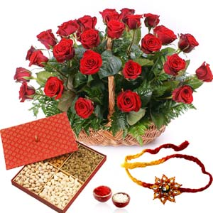 Dryfruits & Flowers-Basket of Red Roses with Dry Fruits and Rakhi